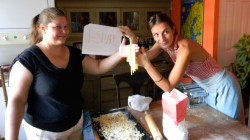Maria Canela and Emanuela Baldi preparing tagliatelle in Rana Siegel's kitchen in Chigago