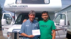 Paul explains to Filippo how to drive safely a van of 32 feet (about 10 meters), August 2012, Denver, Colorado